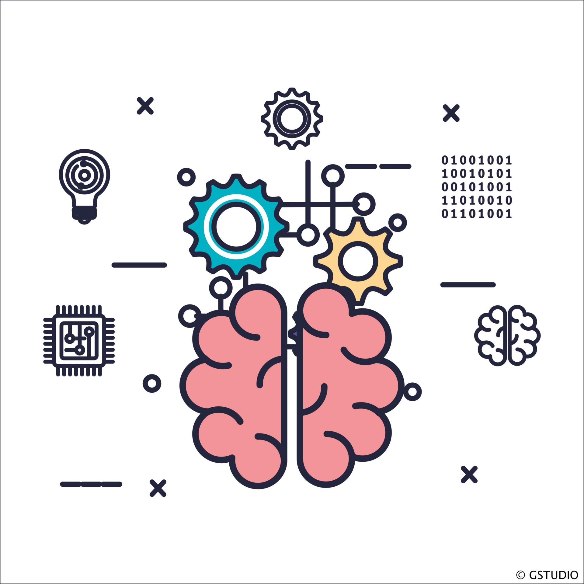 Zeichnung eines Gehirns umgeben von Zahnrädern, einer Platine und einem Zahlenblock mit Zahlen aus dem Binärsystem